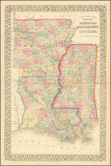 67-Louisiana, Mississippi and Arkansas Map By Samuel Augustus Mitchell Jr.