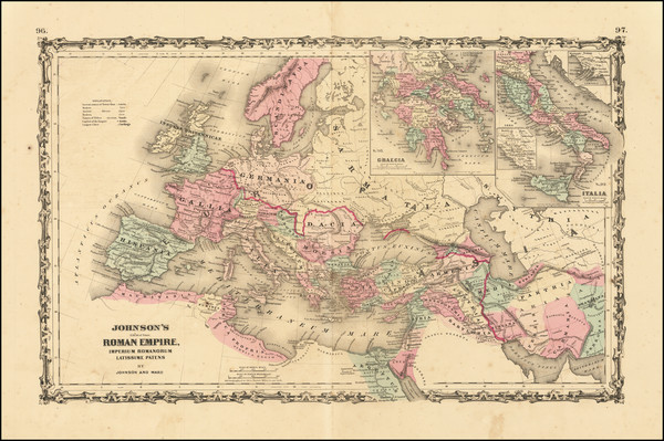 56-Europe, Italy and Mediterranean Map By Alvin Jewett Johnson  &  Benjamin P Ward