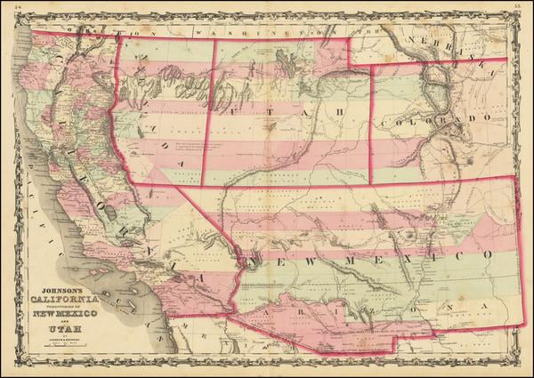 51-Southwest, Arizona, Utah, Nevada, New Mexico, Rocky Mountains, Utah and California Map By Alvin