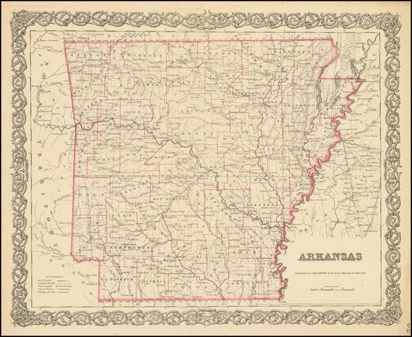 44-Arkansas Map By Joseph Hutchins Colton