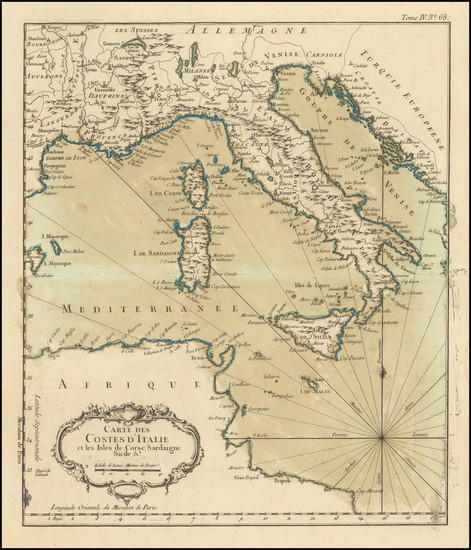30-Italy Map By Jacques Nicolas Bellin