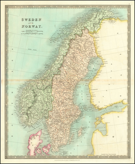79-Scandinavia, Sweden and Norway Map By Henry Teesdale