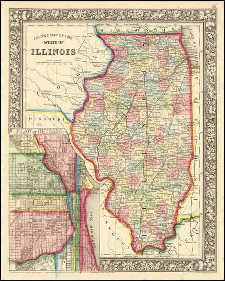 24-Illinois and Chicago Map By Samuel Augustus Mitchell Jr.