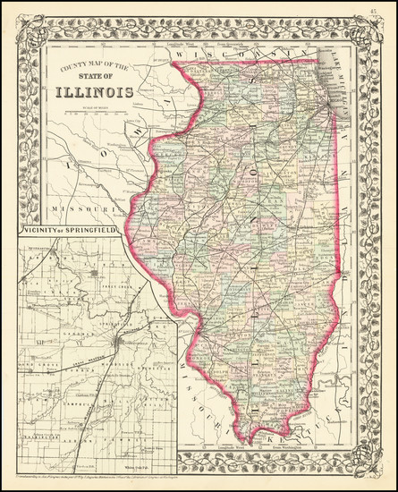 63-Illinois Map By Samuel Augustus Mitchell Jr.