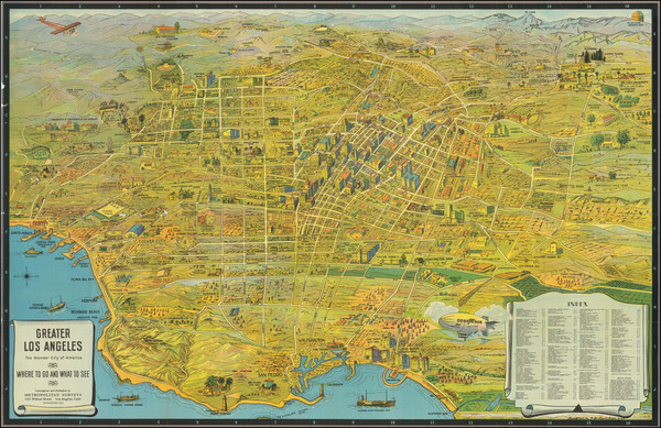 71-Pictorial Maps, California and Los Angeles Map By K.M. Leuschner