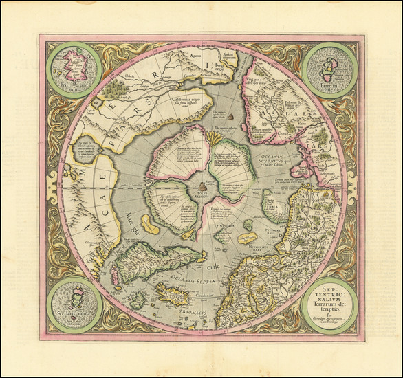 64-Northern Hemisphere and Polar Maps Map By Gerard Mercator