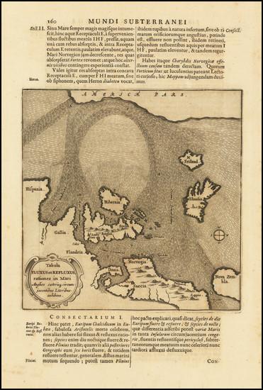 47-Atlantic Ocean, British Isles and Scandinavia Map By Athanasius Kircher