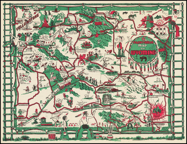4-Wyoming and Pictorial Maps Map By Thomas G. Carrigen