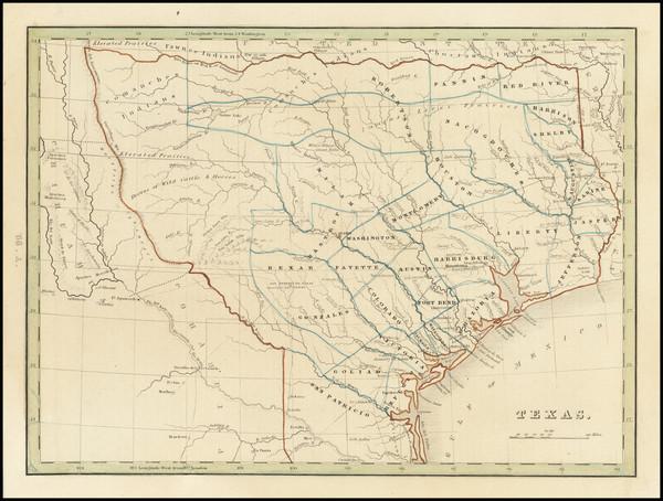 61-Texas Map By Thomas Gamaliel Bradford