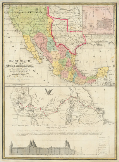 68-Texas, Plains, Southwest, Rocky Mountains, Mexico and California Map By Samuel Augustus Mitchel