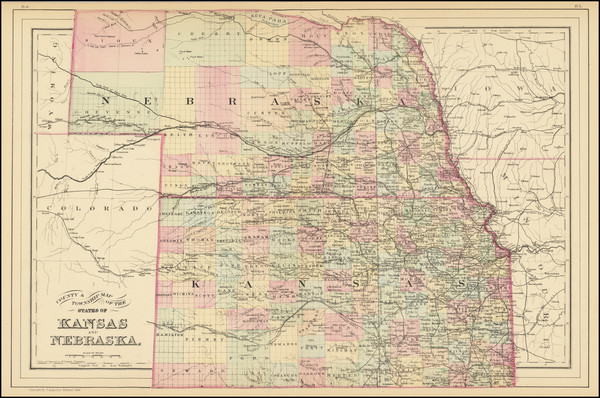72-Kansas and Nebraska Map By Samuel Augustus Mitchell Jr.