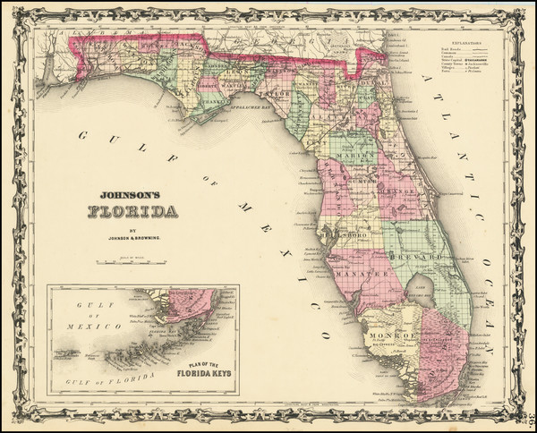 90-Florida Map By Alvin Jewett Johnson  &  Browning