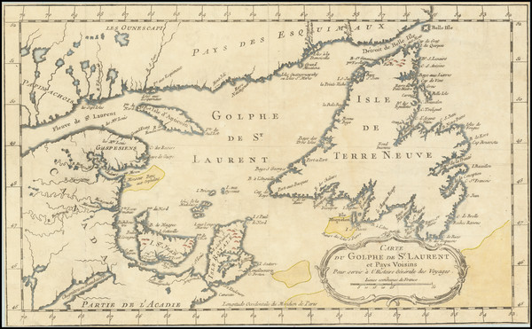 56-Eastern Canada Map By Jacques Nicolas Bellin