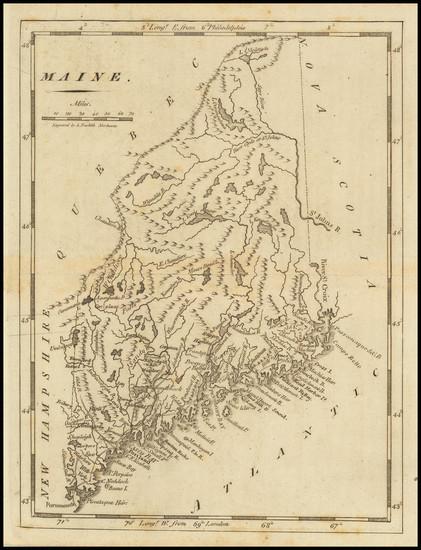 19-Maine Map By Mathew Carey