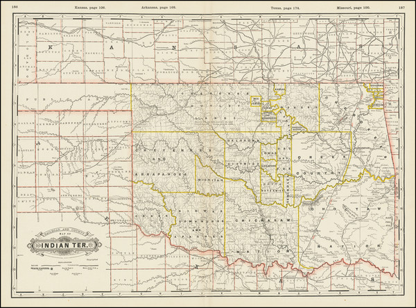 41-Oklahoma & Indian Territory Map By George F. Cram