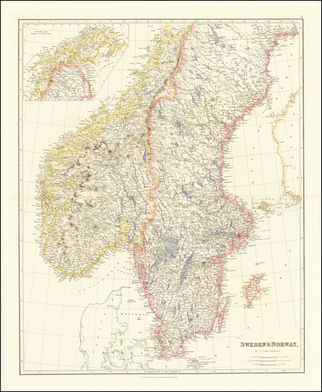 60-Scandinavia, Sweden and Norway Map By John Arrowsmith
