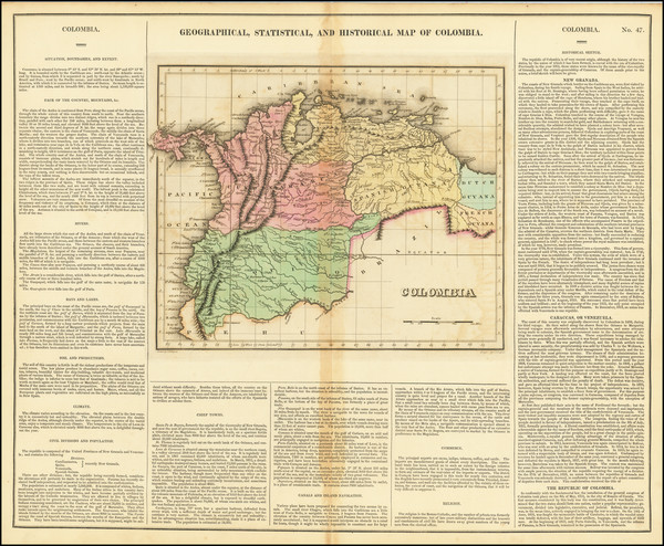 17-Colombia and Venezuela Map By Henry Charles Carey  &  Isaac Lea