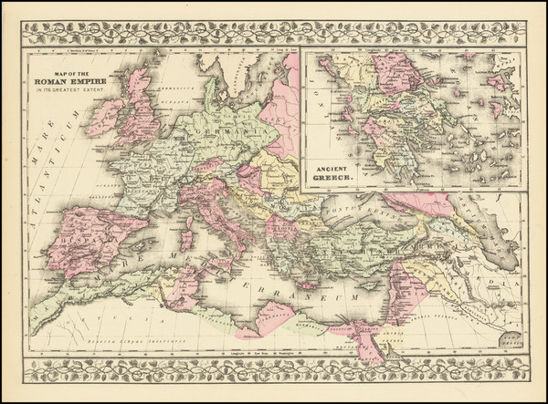 69-Europe, Italy, Greece and Mediterranean Map By Samuel Augustus Mitchell
