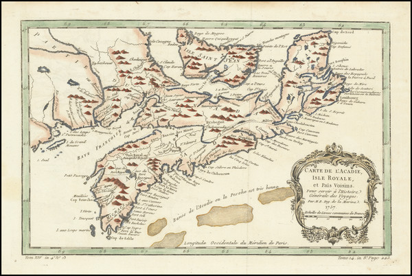 27-Eastern Canada Map By Jacques Nicolas Bellin