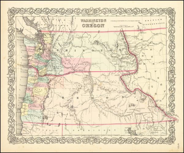29-Idaho, Oregon and Washington Map By Joseph Hutchins Colton