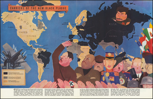 8-World, Pictorial Maps and World War II Map By William Henry Cotton
