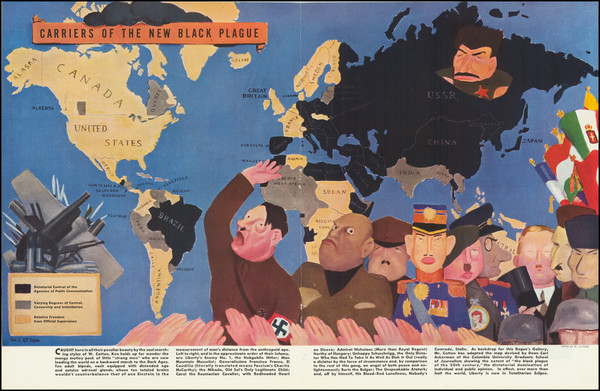 1-World, Pictorial Maps and World War II Map By William Henry Cotton