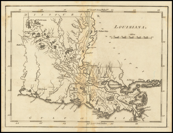 83-Louisiana Map By Mathew Carey