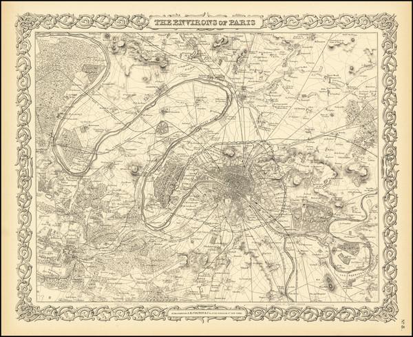 54-Paris and Île-de-France Map By Joseph Hutchins Colton