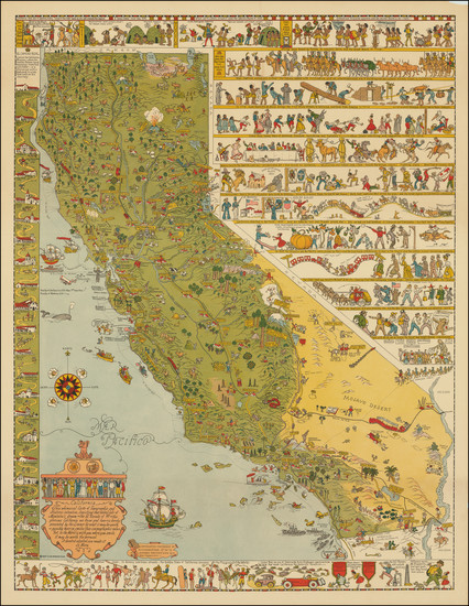40-Pictorial Maps and California Map By Jo Mora