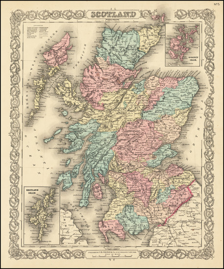 52-Scotland Map By Joseph Hutchins Colton
