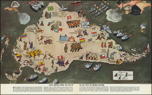 61-South America, Pictorial Maps and World War II Map By John Groth