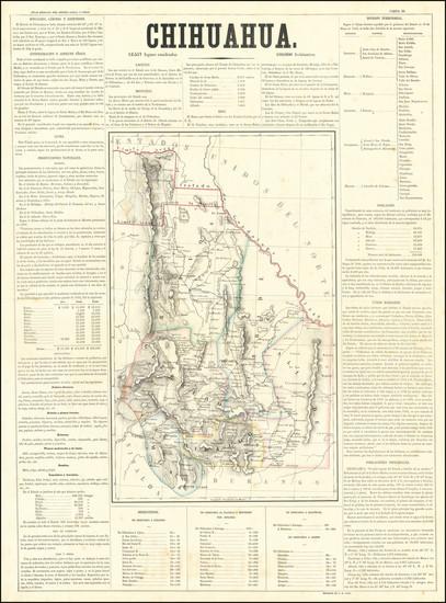 74-Texas, Southwest and Mexico Map By Antonio Garcia y Cubas