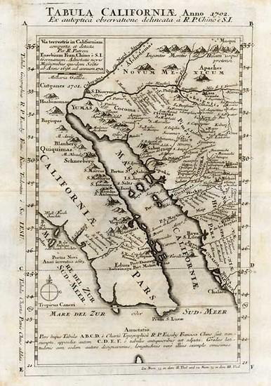 55-Southwest, Mexico, Baja California and California Map By Fr. Eusebio Kino