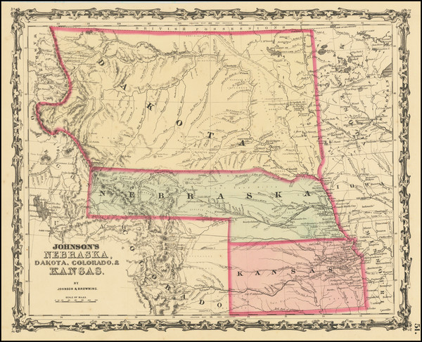 22-Kansas, Nebraska, North Dakota, South Dakota, Colorado, Montana and Wyoming Map By Alvin Jewett