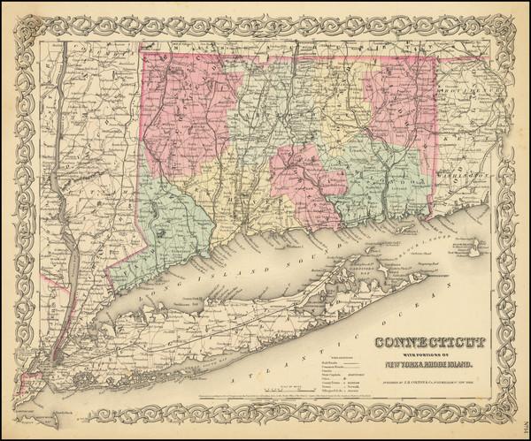 93-Connecticut Map By Joseph Hutchins Colton