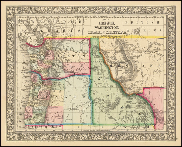36-Idaho, Montana, Oregon and Washington Map By Samuel Augustus Mitchell Jr.