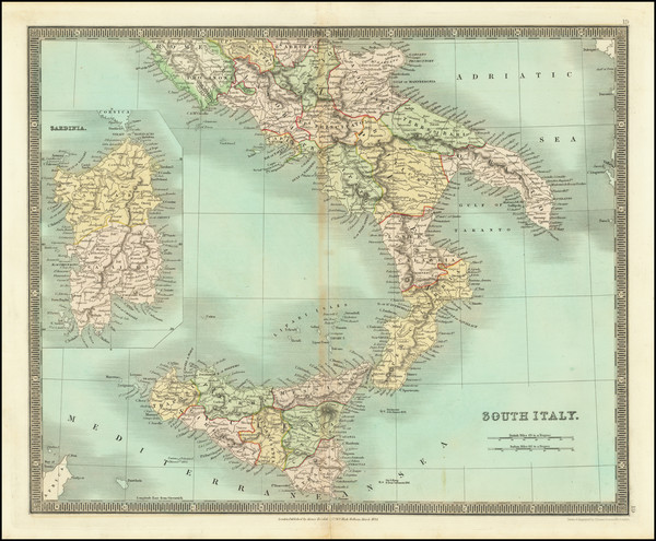 68-Southern Italy, Sardinia and Sicily Map By Henry Teesdale