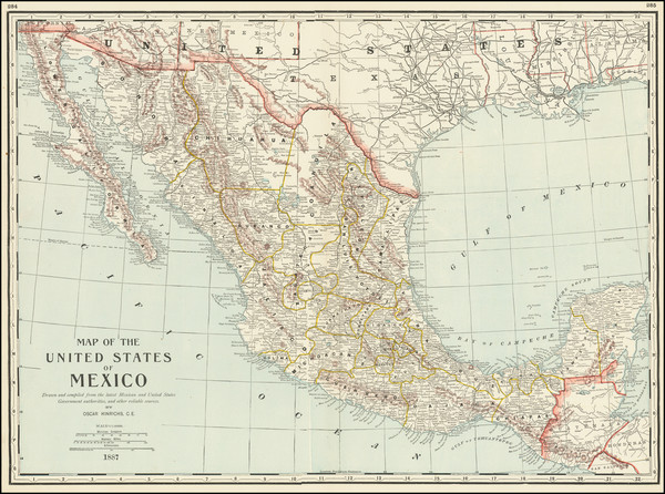 95-Mexico Map By George F. Cram