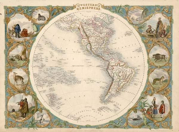 26-World, World, Western Hemisphere, South America and America Map By John Tallis