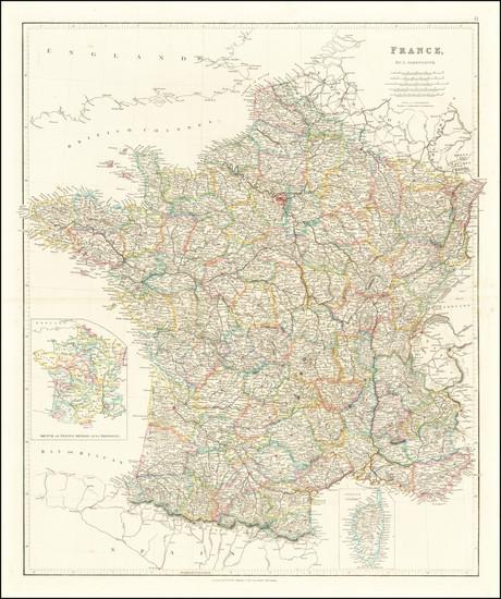 35-France Map By John Arrowsmith