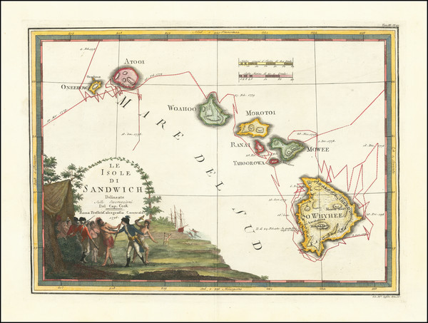 60-Hawaii and Hawaii Map By Giovanni Maria Cassini