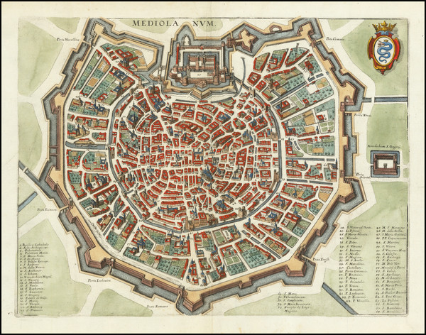 65-Northern Italy and Other Italian Cities Map By Matthaus Merian