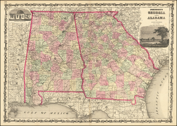 34-Alabama and Georgia Map By Alvin Jewett Johnson  &  Ross C. Browning