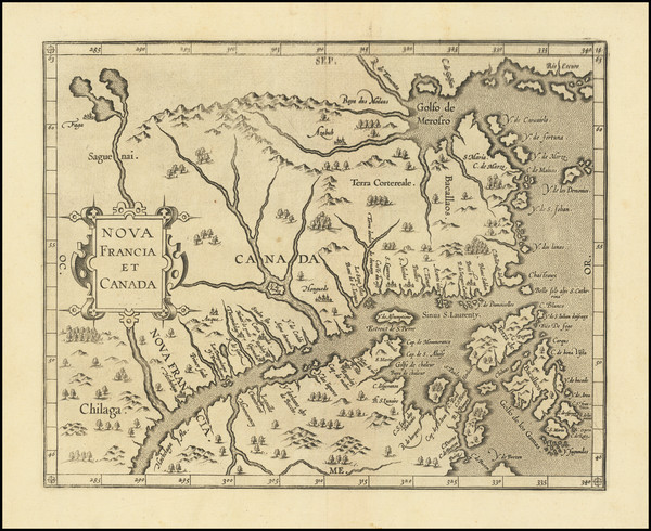 89-Canada and Eastern Canada Map By Cornelis van Wytfliet