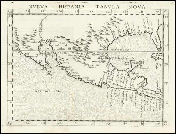 64-South, Southeast, Texas, Southwest and Mexico Map By Girolamo Ruscelli
