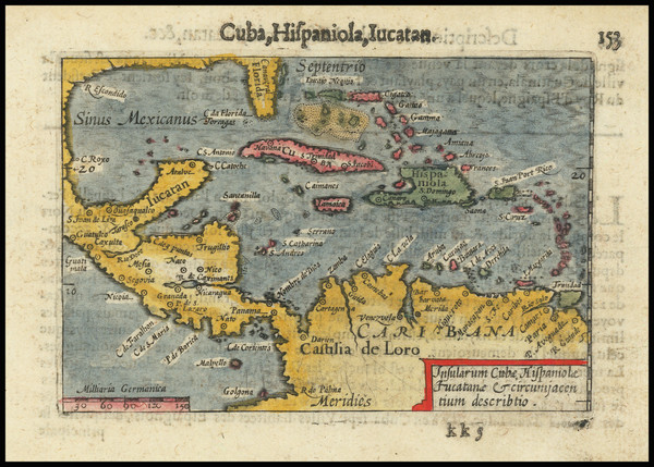100-Mexico, Caribbean and Central America Map By Petrus Bertius