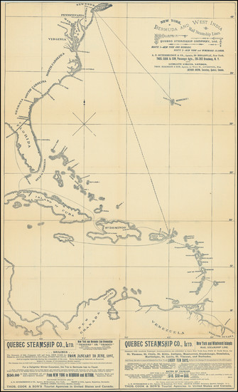 73-Atlantic Ocean, United States, Caribbean and Bermuda Map By Quebec Steamship Company