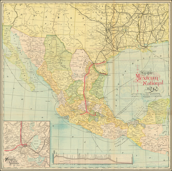 69-Texas and Mexico Map By American Bank Note Company