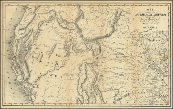 7-Southwest, Rocky Mountains and California Map By Joseph Hutchins Colton