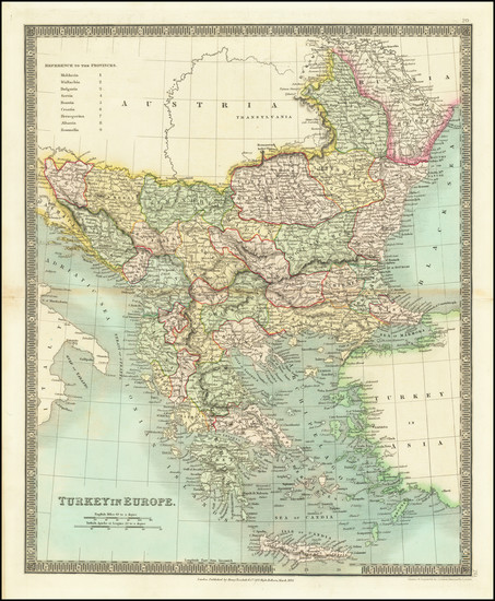 44-Romania, Balkans, Turkey and Greece Map By Henry Teesdale